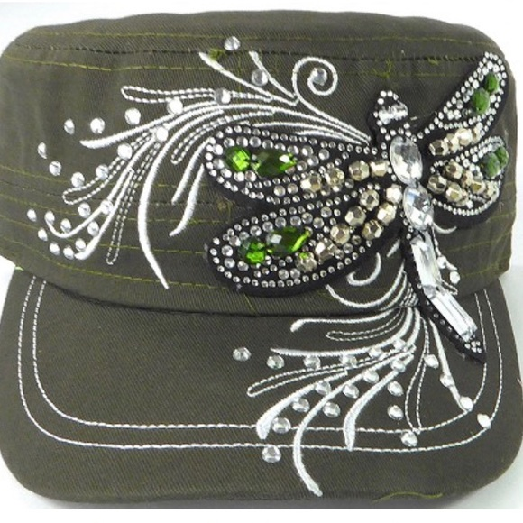 🌺🌷🌸New Olive Green Cadet Hat Dragonfly Boutique